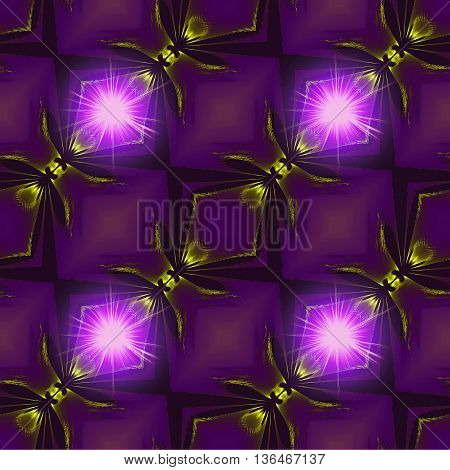 Abstract seamless glowing fractal pattern with stylized fireflies Pink, purple and black fractal background with lighting objects