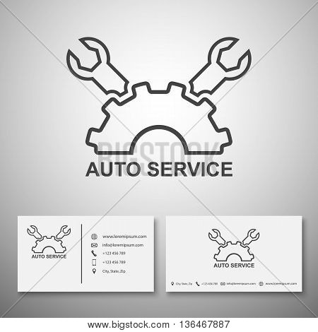 Car service logo, Business card template, vector