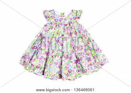 beautiful elegant bright light baby summer dress Isolated on white
