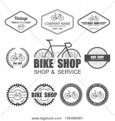 Bicycle Label Set Template, Cycling typographic. vector