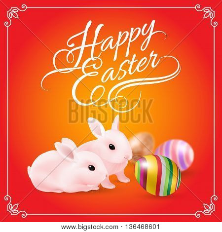 Two Pink Easter Bunny and Striped Eggs on Red Background