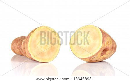 Big Yam cut pieces isolated on white background.