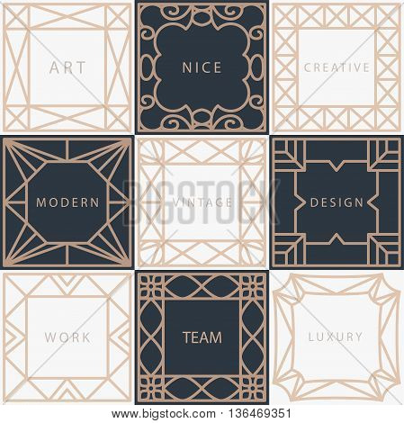 Vector template frame. Form of square. Line design elements. Collage collection geometric gold shapes.