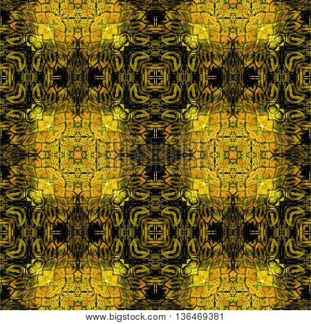 Abstract seamless scalloped pattern of stylized reptile skin Brown, yellow, orange and black rough pattern with scales