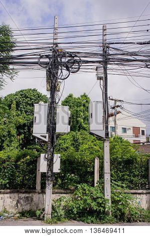 Outdoor cabinet internet cabinet on Concrete poles.