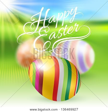 Easter Eggs on Green Blur Background with Sun Light