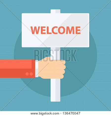 Male hand holding welcome signboard. Flat design vector illustration.