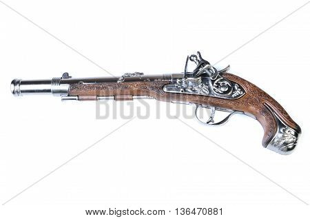 a toy gun (revolver) isolated on a white background
