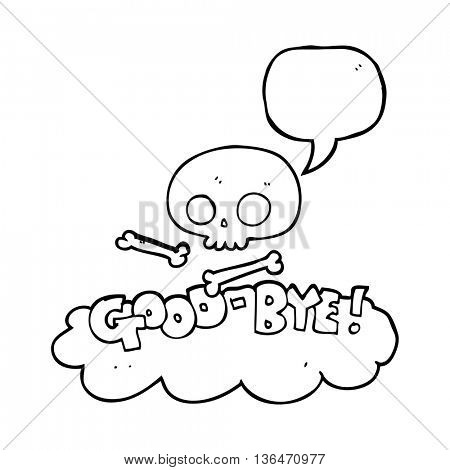 freehand drawn speech bubble cartoon good-bye symbol