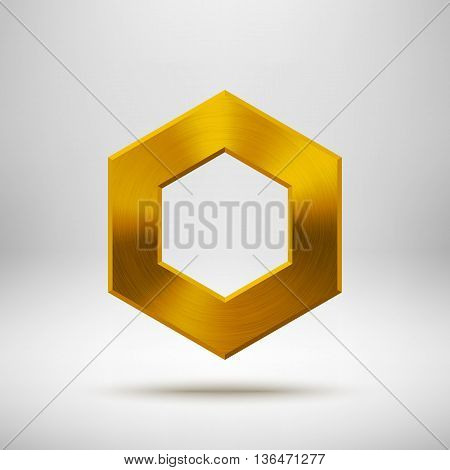 Gold abstract polygon, hex badge, technology blank button template with metal texture, chrome, silver, steel and realistic shadow for logo, design concepts, apps, web and prints. Vector illustration.