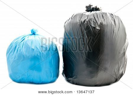 Blue And Black Garbage Bags