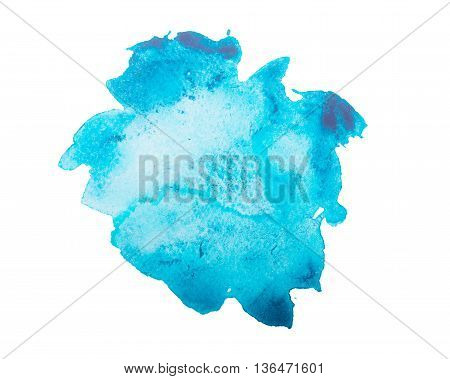 Watercolour blue blot isolated on white background.