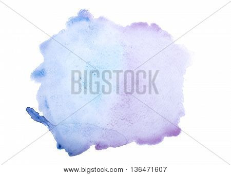 Watercolour red blot isolated on white background.