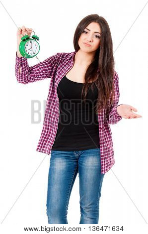 Depression teen student girl with green alarm clock, isolated over white background