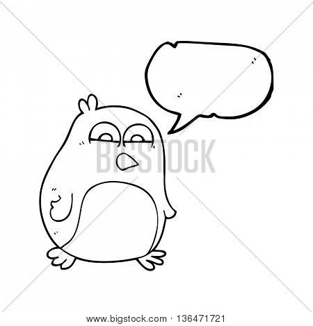 freehand drawn speech bubble cartoon penguin