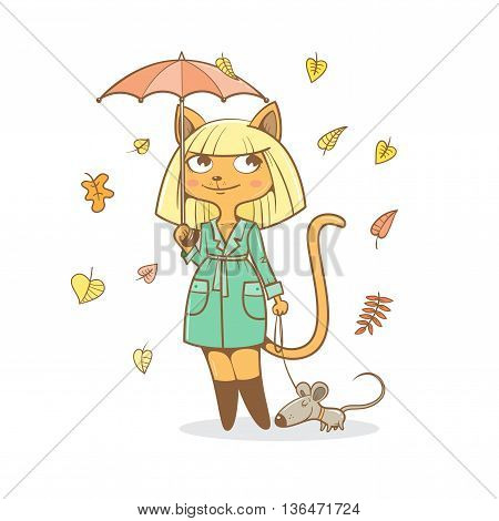 Postcard with cute cartoon  cat girl in  coat  under  umbrella and mouse. Autumn season. Rainy weather.  Falling leaves. Children's illustration. Vector image.