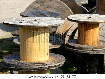 Wooden Spools For The Transport Of Electric Cables In A Landfill