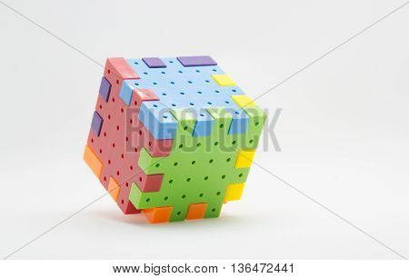 Jigsaw plastic toys Comprising a box isolated