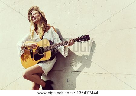 Woman Girl Playing Guitar Enjoyment Concept