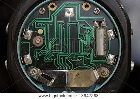 vintage digital clock close up of integrated circuit