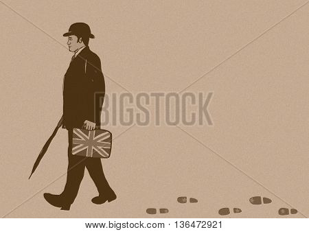 English business man with handbag vintage image