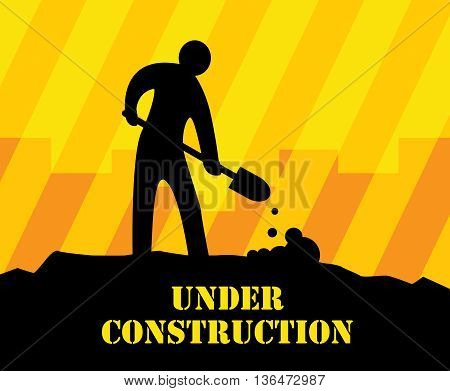 Abstract under construction yellow background, vector illustration