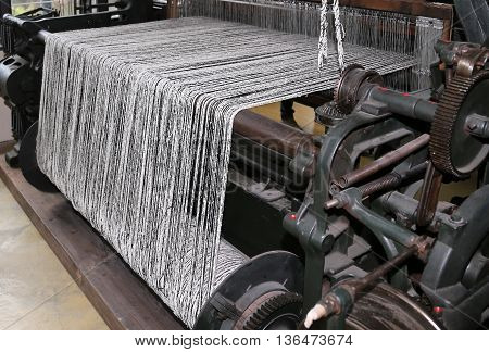 Old Last Century Loom For The Production Of The Fabrics In The T