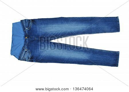 Jeans for pregnant women isolated on white background
