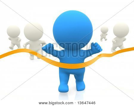 3D man winning a race isolated over a white background