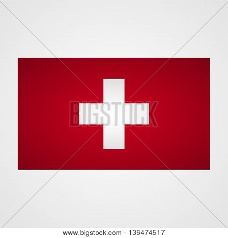 Switzerland flag on a gray background. Vector illustration
