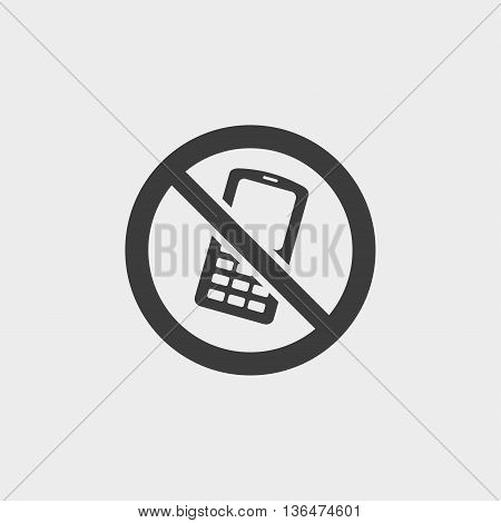 No phone icon in a flat design in black color. Vector illustration eps10