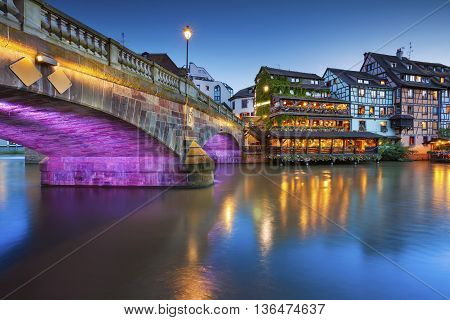 Strasbourg. Image of Strasbourg old town during twilight blue hour.