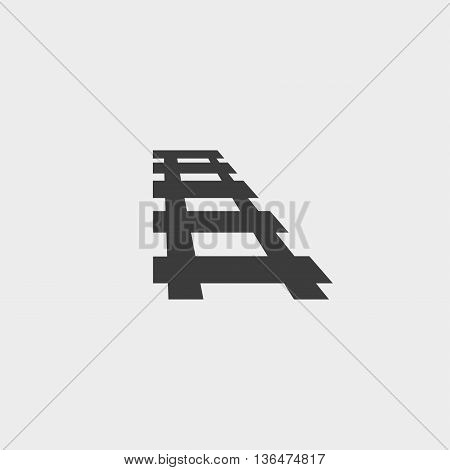 Rail icon in a flat design in black color. Vector illustration eps10