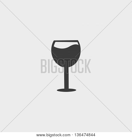 Wine glass icon in a flat design in black color. Vector illustration eps10