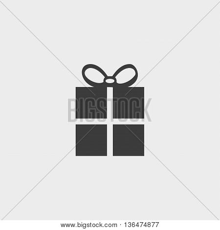 gift icon in a flat design in black color. Vector illustration eps10