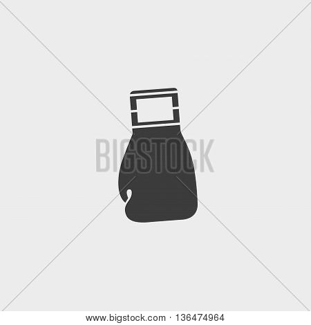 boxing glove icon in a flat design in black color. Vector illustration eps10