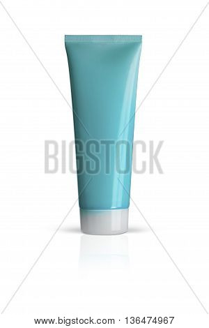 Plastic tube Cosmetic for face care. Isolated on a white background. With clipping path.