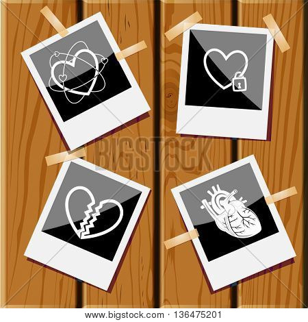 4 images: heart, closed heart, unrequited love, atomic heart. Heart shape set. Photo frames on wooden desk. Vector icons.