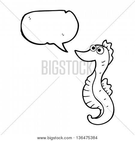freehand drawn speech bubble cartoon seahorse