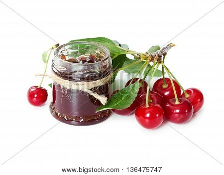 Cherry Jam In Glass Jar