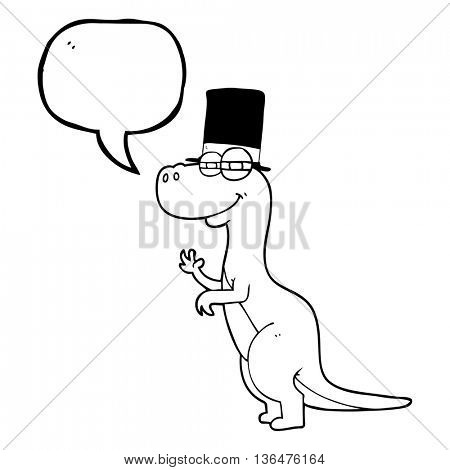 freehand drawn speech bubble cartoon dinosaur wearing top hat