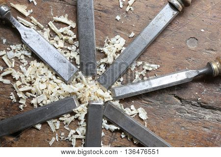 Series Of Many Steel Blades Many Chisels And Sawdust Chippings I