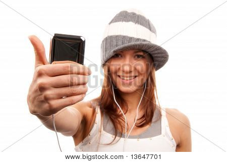 Woman With Cellphone Headphones Thumb Up