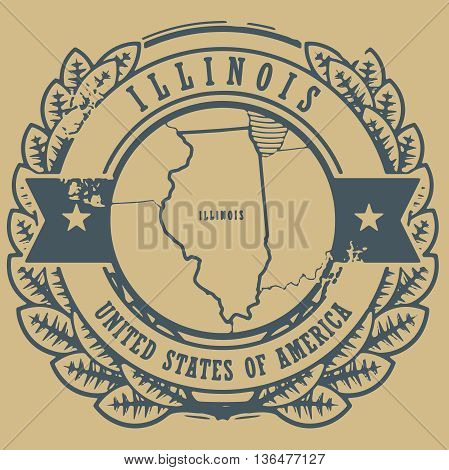 Grunge rubber stamp with name and map of Illinois, USA, vector illustration
