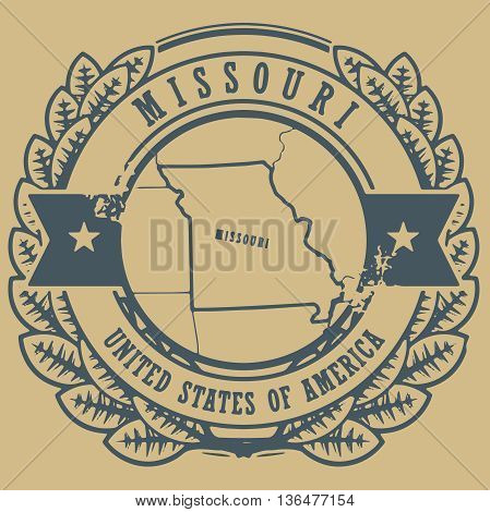 Grunge rubber stamp with name and map of Missouri, USA, vector illustration