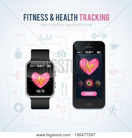 Health fitness tracker application interface on realistic smart watch and phone for mobile apps web design social networks healthcare business commercial