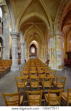 Triel sur Seine France - april 12 2016 : the gothic and renaissance Saint Martin church