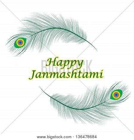 Happy janmashtami Indian feast of the birth of Krishna. Greeting card janmashtami. Invitation janmashtami. Vector illustration.