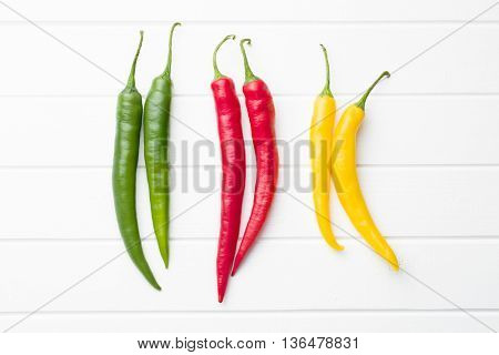 Different colors chili peppers on white table. Top view.