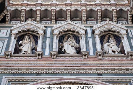 FLORENCE, ITALY - JUNE 05: Statues of the Apostles, Portal of Cattedrale di Santa Maria del Fiore (Cathedral of Saint Mary of the Flower), Florence, Italy on June 05, 2015
